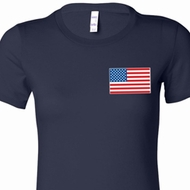 US Flag Pocket Print Ladies Longer Length Shirt