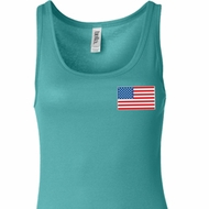 US Flag Pocket Print Ladies Longer Length Tank Top