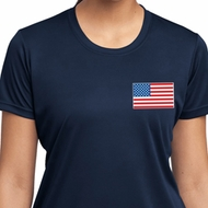 US Flag Pocket Print Ladies Moisture Wicking Shirt