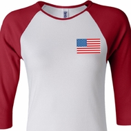 US Flag Pocket Print Ladies Raglan Shirt