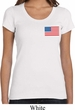 US Flag Pocket Print Ladies Scoop Neck Shirt