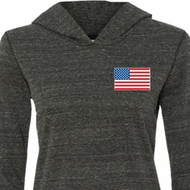 US Flag Pocket Print Ladies Tri Blend Hoodie Shirt