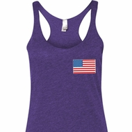 US Flag Pocket Print Ladies Tri Blend Racerback Tank Top