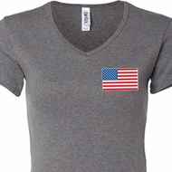 US Flag Pocket Print Ladies V-neck Shirt
