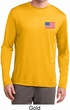 US Flag Pocket Print Mens Dry Wicking Long Sleeve Shirt