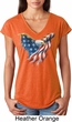 USA Eagle Flag Ladies Tri Blend V-Neck Shirt