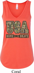 USA Home of the Brave Ladies Flowy V-neck Tank Top