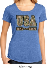 USA Home of the Brave Ladies Lace Back Shirt