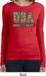 USA Home of the Brave Ladies Long Sleeve Shirt
