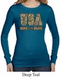 USA Home of the Brave Ladies Long Sleeve Thermal Shirt