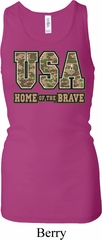 USA Home of the Brave Ladies Longer Length Racerback Tank Top