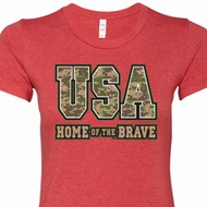 USA Home of the Brave Ladies Shirts