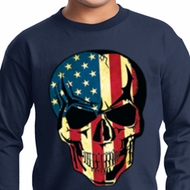 USA Skull Kids Long Sleeve Shirt