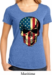 USA Skull Ladies Lace Back Shirt