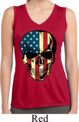 USA Skull Ladies Sleeveless Moisture Wicking Shirt