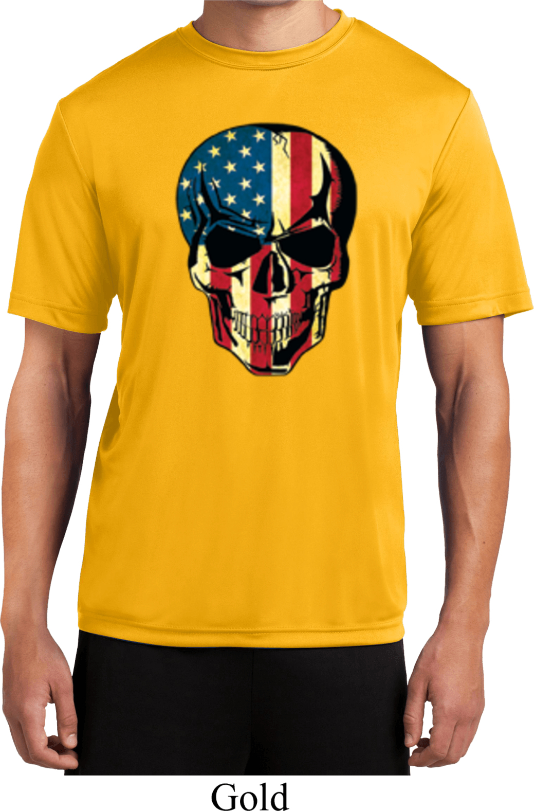 Usa Skull Mens Moisture Wicking Shirt Usa Skull Mens Shirts