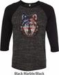 USA Wolf Mens Raglan Shirt