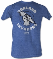 USFL Oakland Invaders T-shirt Football League Sea Blue Heather Tee