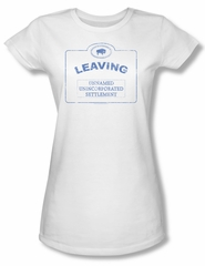 Warehouse 13 Shirt Juniors Now Leaving Univille White Tee T-Shirt