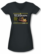 Warehouse 13 Shirt Juniors V Neck Telegraph Island Charcoal Tee Shirt