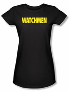 Watchmen Juniors T-shirt Movie Superhero Logo Black Tee Shirt