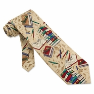 Well Read Tie Tan Brown Silk Necktie - Mens Occupational Neck Tie