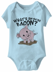 What's Shakin Bacon Funny Baby Romper Light Blue Infant Babies Creeper