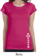 White 7 Chakras Bottom Print Ladies Yoga Shirts