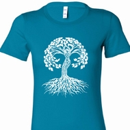 White Celtic Tree Ladies Yoga Shirts