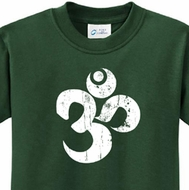 White Distressed OM Kids Yoga Shirts