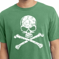 White Distressed Skull Pigment Dyed Shirt