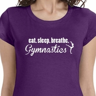 White Eat Sleep Breathe Gymnastics Ladies Gymnast Shirts
