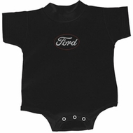 White Ford Middle Print Baby Onesie