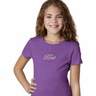 White Ford Middle Print Girls Shirt