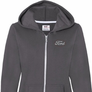White Ford Pocket Print Ladies Full Zip Hoodie