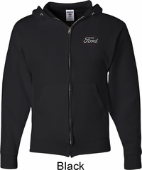 White Ford Pocket Print Mens Full Zip Hoodie