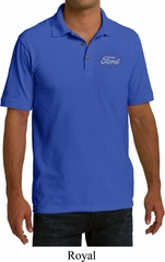 White Ford Pocket Print Mens Pique Polo Shirt