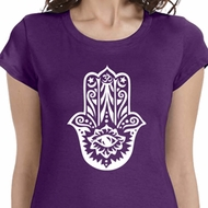 White Hamsa Ladies Yoga Shirts