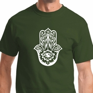 White Hamsa Mens Yoga Shirts