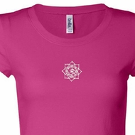 White Lotus OM Patch Ladies Yoga Shirts