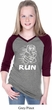 White Penguin Power Run Girls Three Quarter Sleeve V-Neck Raglan Shirt