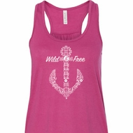 Wild and Free Anchor Ladies Flowy Racerback Tanktop