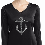 Wild and Free Anchor Ladies Moisture Wicking Long Sleeve Shirt