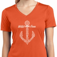 Wild and Free Anchor Ladies Moisture Wicking V-neck Shirt