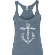 Wild and Free Anchor Ladies Tri Blend Racerback Tank Top