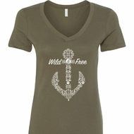 Wild and Free Anchor Ladies V-Neck Shirt