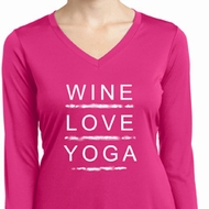 Wine Love Yoga Ladies Dry Wicking Long Sleeve Shirt