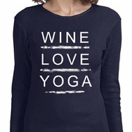 Wine Love Yoga Ladies Long Sleeve Shirt