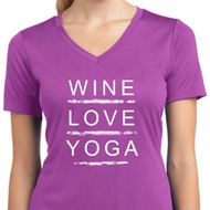 Wine Love Yoga Ladies Moisture Wicking V-neck Shirt
