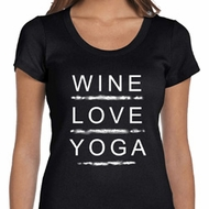 Wine Love Yoga Ladies Scoop Neck Shirt